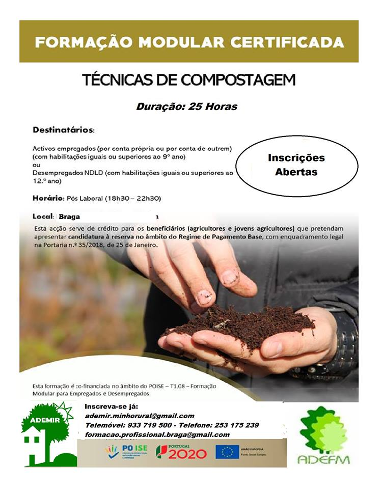curso gratuito de compostagem em Braga