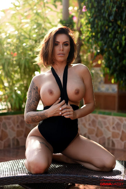 Gemma Massey showing naked big boobs in black bodysuit