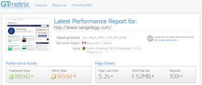 Report GTMetrix SEOGereggi.com