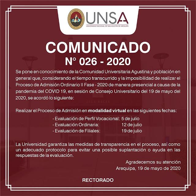 Comunicado Examen de admisión virtual