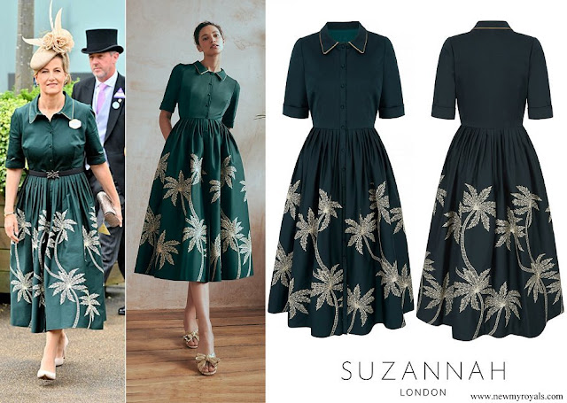 The Countess of Wessex wore Suzannah metallic embroidery palm venice shirt dress