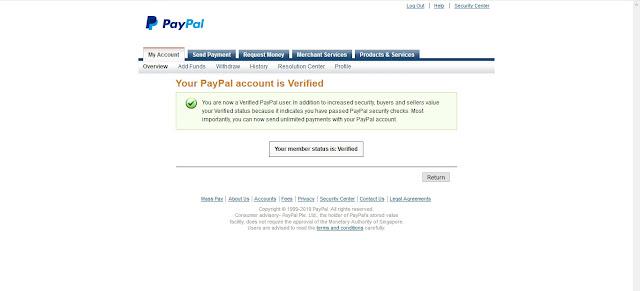 Akun PayPal Verified