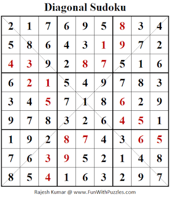 Answer of Diagonal Sudoku Puzzle (Fun With Sudoku #353)