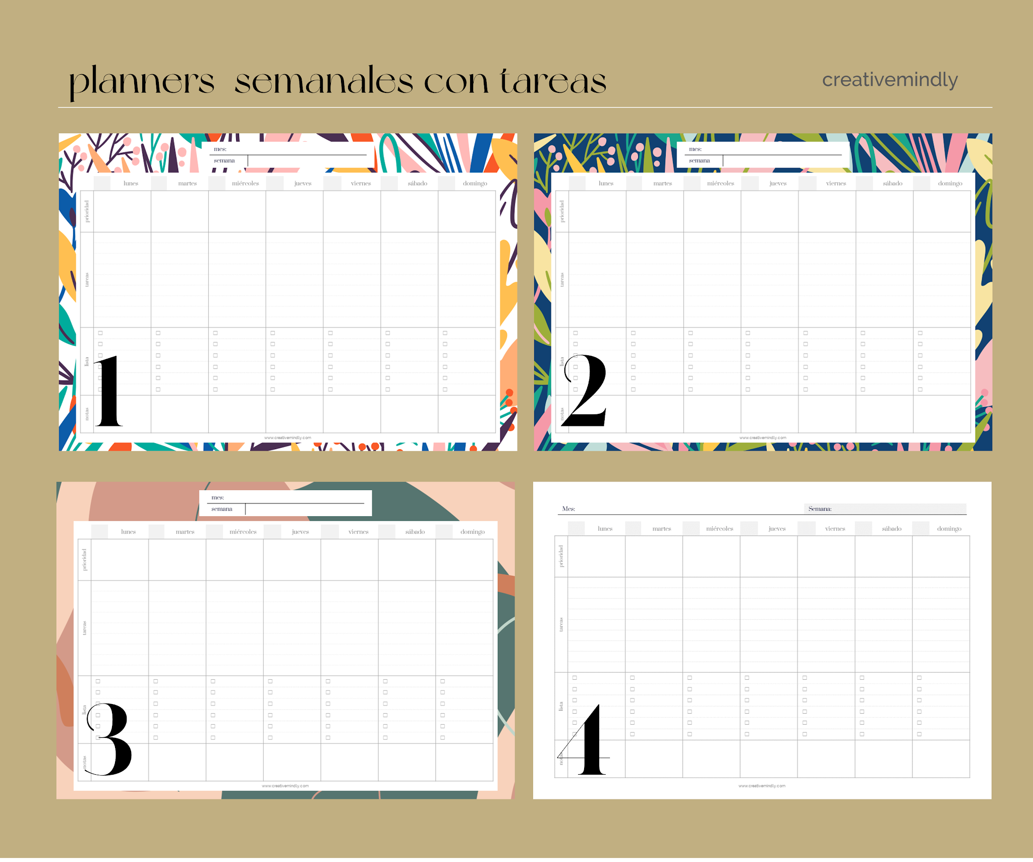 planificadores semanales mensuales gratis bonitos imprimir