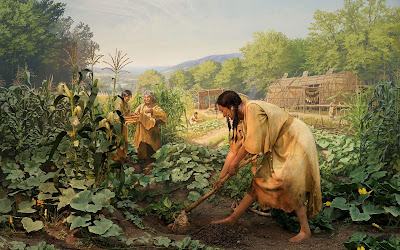 A drawing of several women in bucksKins tending to their garden. There are thatch buildings in the background.