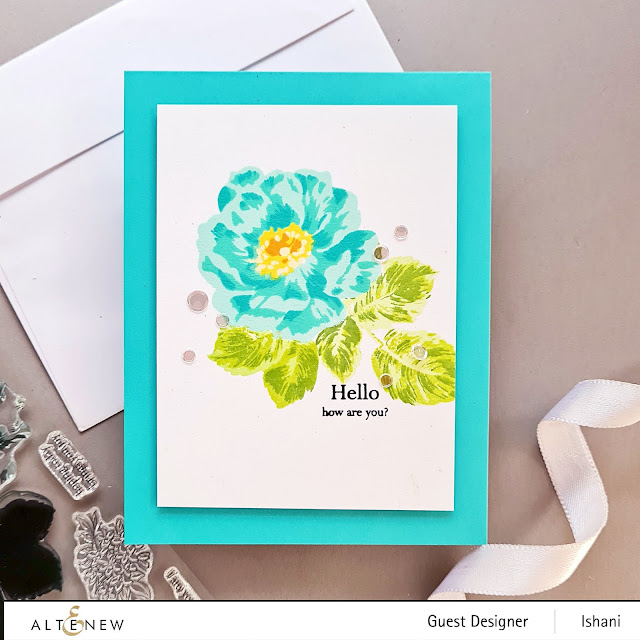 Altenew BAF Wild rose layering stamp, Build a flower stamp set - Wild rose, Rose cards, Wild rose stamp, layering stamps, altenew Burlap die, Clean and simple rose card, Turquoise rose card, Quillish, Guest designer Ishani, Altenew layering stamps,
