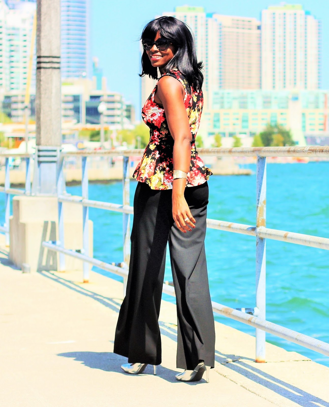 Floral Print Peplum Top Styled With A Wide Leg Pant