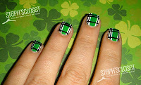 St Patricks Patty's Day Green Plaid Argyle Nail Design