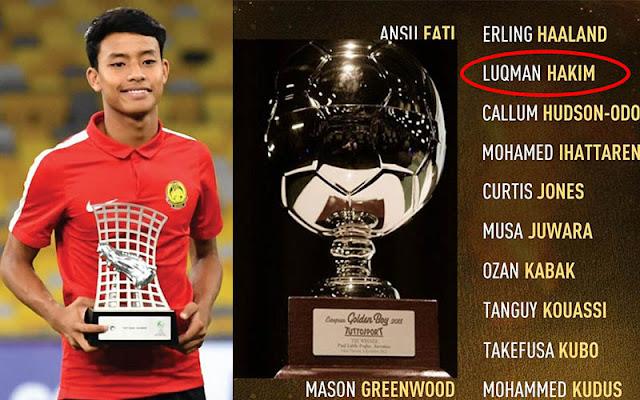 Luqman Hakim Disenarai Dalam Anugerah Golden Boy 2020 Bersama Erling Haaland