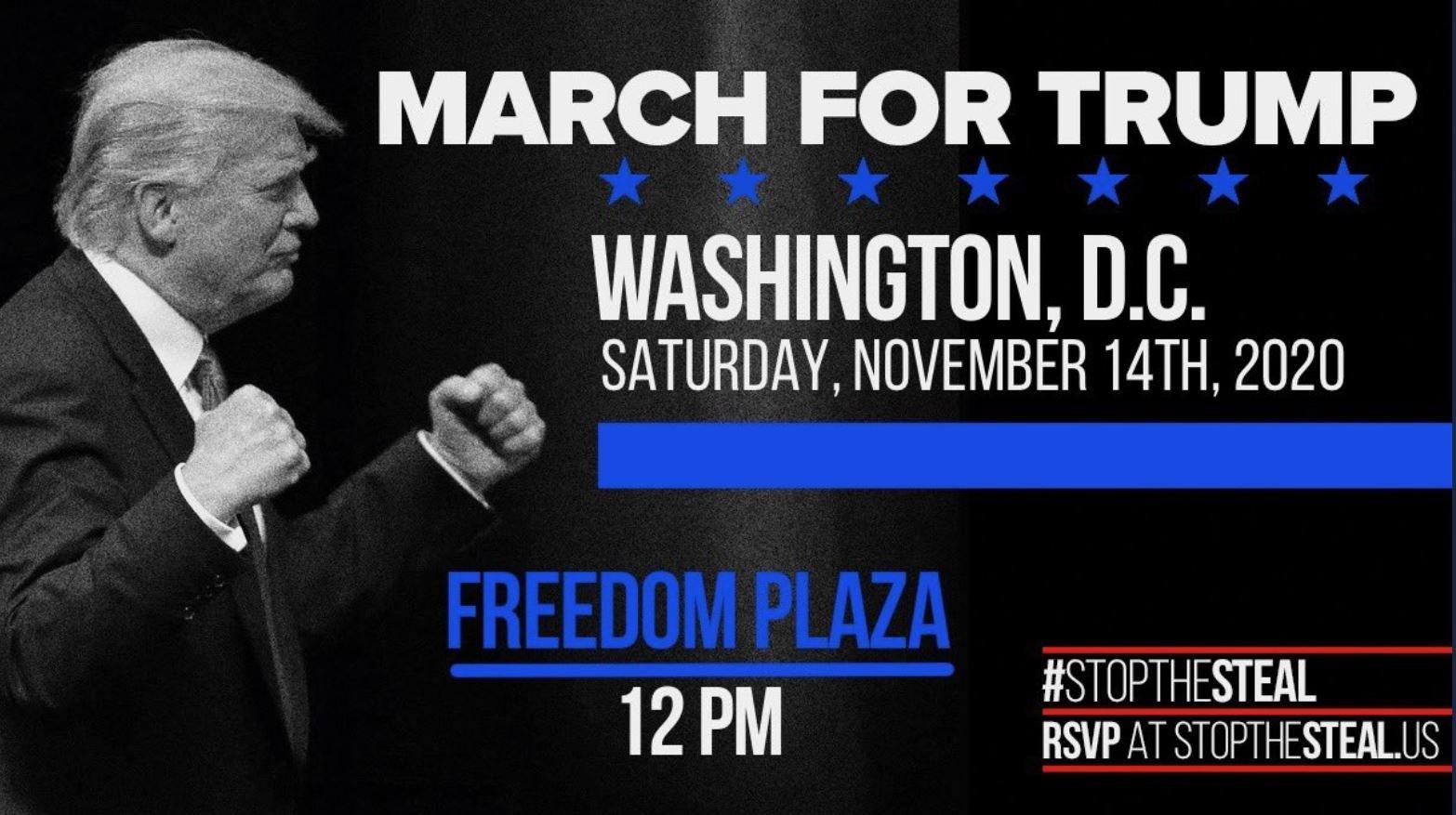 Na segunda-feira, anunciamos uma MARCHA PRINCIPAL PARA TRUMP, planejada para sábado, 14 de novembro - ao meio-dia Eastern em Freedom Plaza.