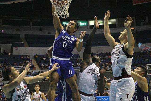 ADMU Blue Eagles, led by high-flying Thirdy Ravena secured game 1 against the UP