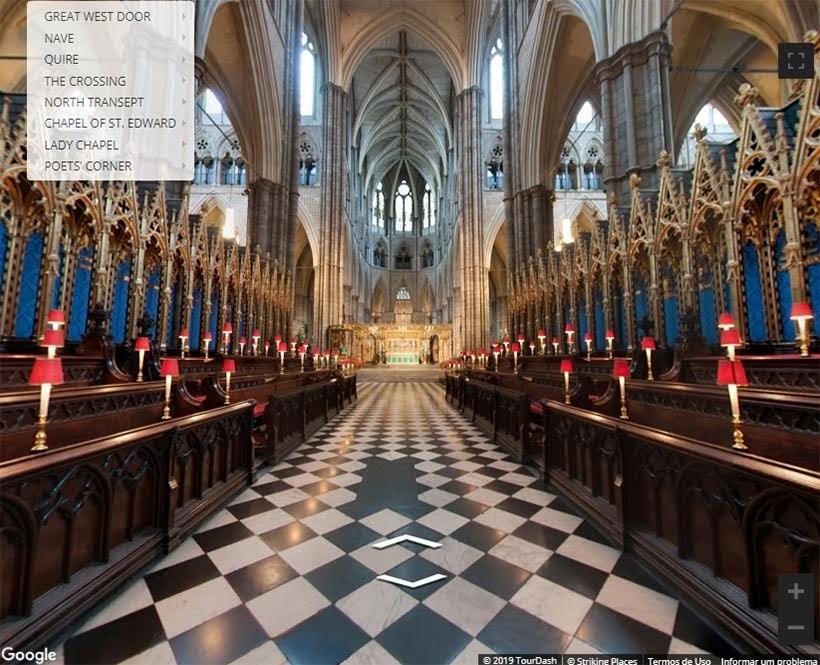 Coro da Abadia de Westminster. Foto: reprodução do tour virtual no site da Abadia