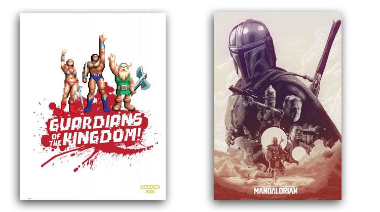La variedad de posters frikis es alucinante, aquí una original ilustración de un clásico videojuego y una ilustración de The Mandalorian