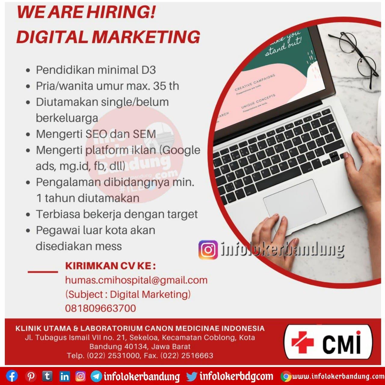 Lowongan Kerja Klinik Utama & Laboratorium Canon Medicine Indonesia (CMI) Bandung Desember 2020