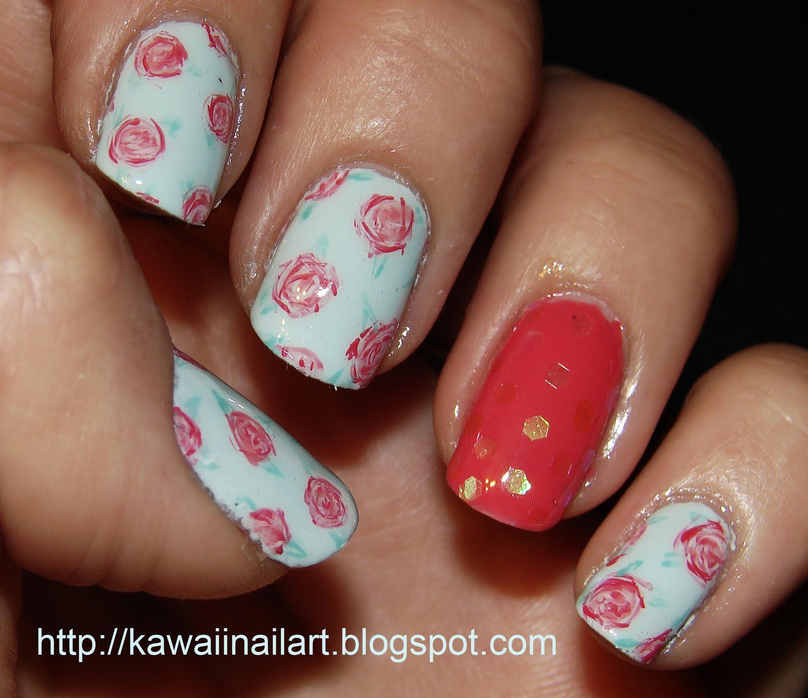 kawaii nail art pink roses on baby blue nail art