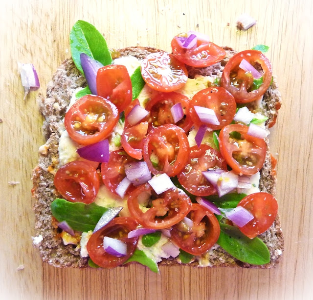 tomato salad open sandwich