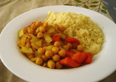 Curried Garbanzo Beans and Couscous