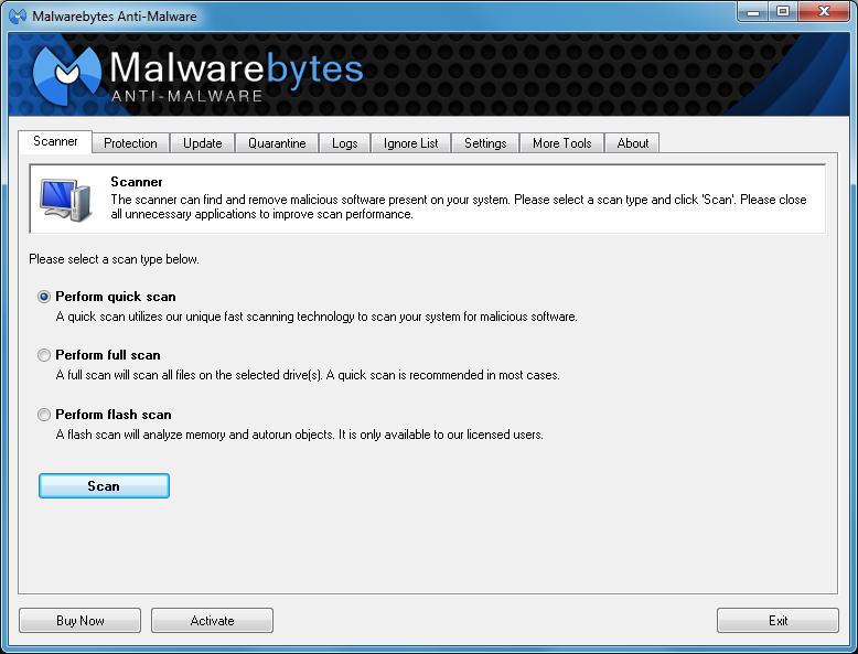 برنامج Malwarebytes Anti Malware 2 لحماية جهازك من الاختراق