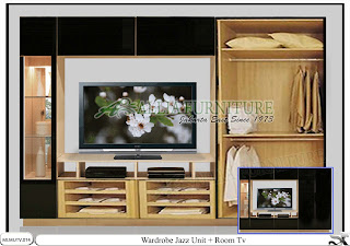 Lemari model minimalis tv unit Jazz