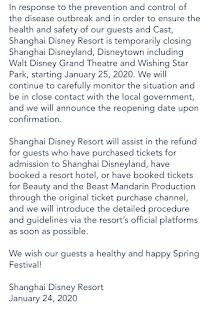 Shanghai Disneyland Closing Notice Corona Virus