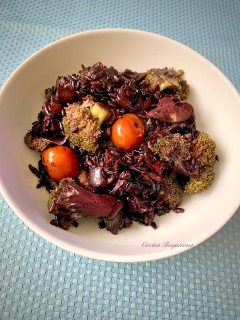 Arroz negro nerone al horno con verduras