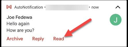 """انقر على """"قراءة"""" في إشعار Gmail."""
