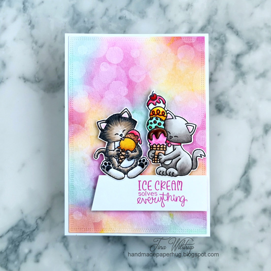 Kitty Ice Cream Card with Bokeh Background by January Guest Designer Tina Wilstrup | Newton's Summer Treats Stamp Set and Bokeh Stencil Set by Newton's Nook Designs #newtonsnook #handmade
