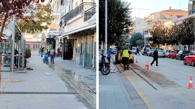 Εργασίες εγκατάστασης δικτύου οπτικών ινών στην κεντρική πλατεία Ορεστιάδας
