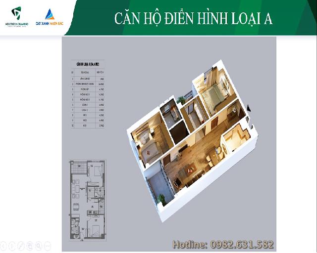 Chi tiết căn hộ A chung cư Northern Diamond