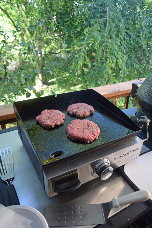 Cooking burgers on a Blackstone griddle