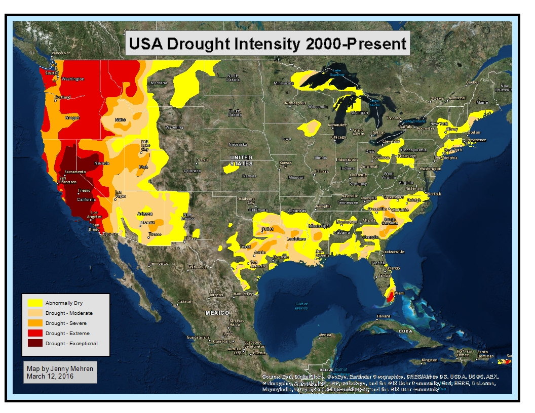 using esri s online database i was able to create this map showing drought intensity across the us it is interesting to note the lack of drought