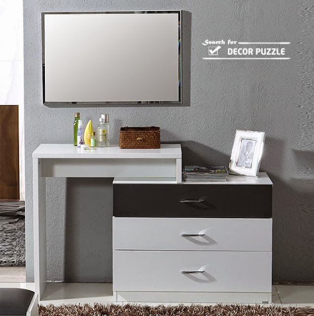 small modern white dressing table with mirror
