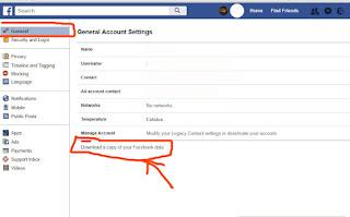 عمل نسخة احتياطية من ملفات الفيس بوك