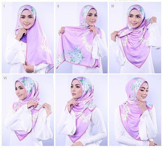 25 Kreasi Tutorial Hijab Segi Empat Simple 2018