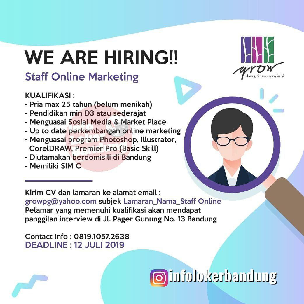 Lowongan Kerja Staff Online Marketing Grow Gift Shop Bandung Juli 2019