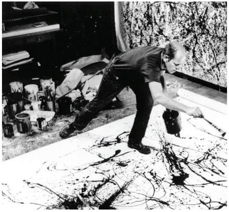 Fotografia de Jackson Pollock pintando em seu ateliê, realizada por Hans Namuth em 1951