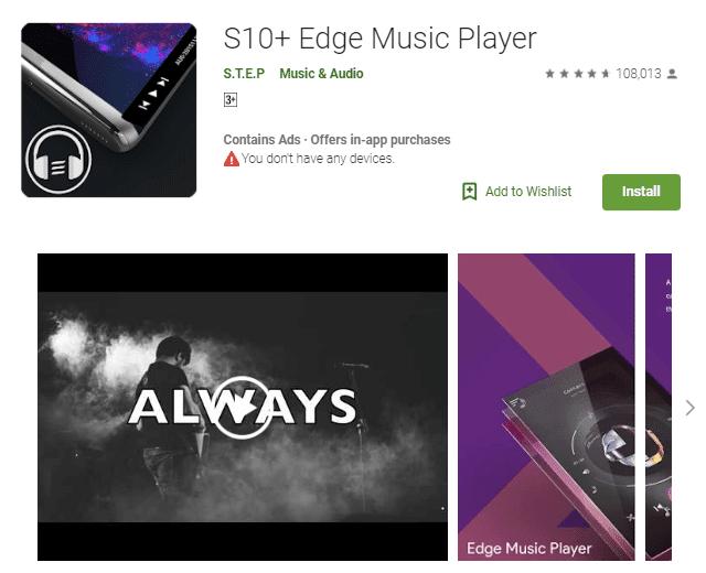 S10+ Edge Music Player