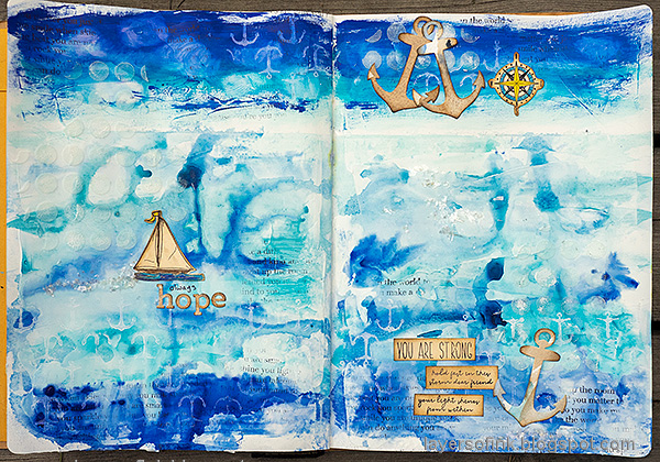 Layers of ink - Always Hope Seascape Art Journal Page Tutorial by Anna-Karin Evaldsson.