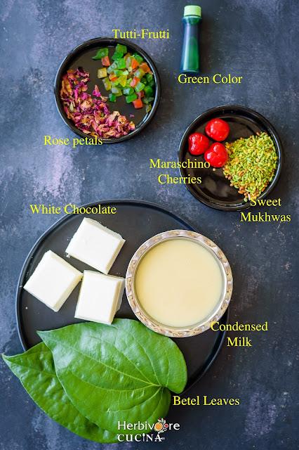 Ingredients for Paan (Betel Leaf) Fudge