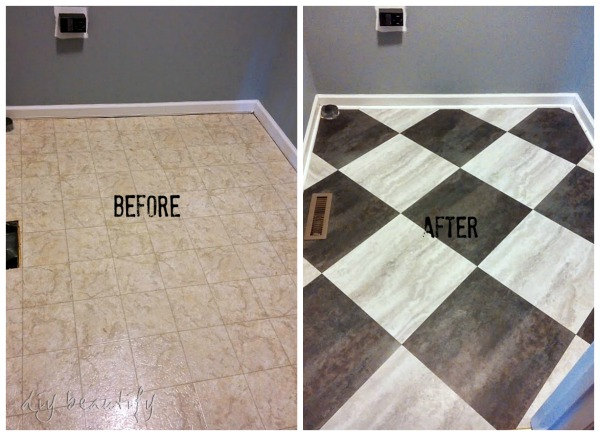 Painting Old Vinyl Flooring Transform a Laundry Room Floor (with Peel and Stick Tiles ...