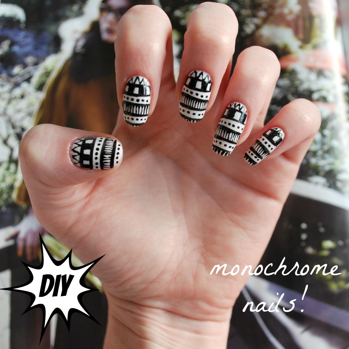 Diy Monochrome Nail Art Burkatron