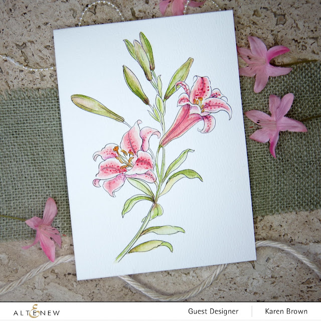 Altenew watercolor Stargazer Lilly.