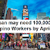 Japan may need 100,000 Filipino workers next month - DOLE