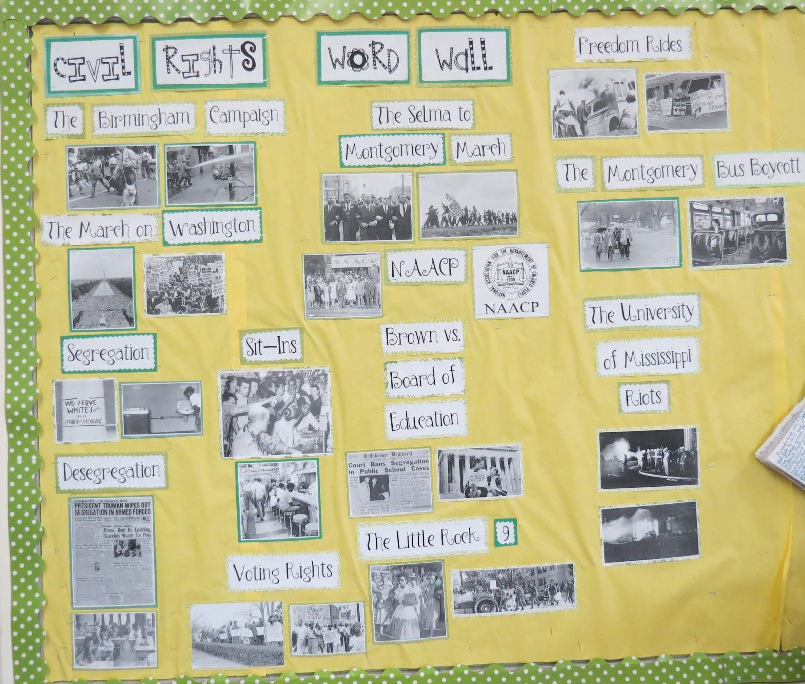 4th Grade In Ya Face Civil Rights Unit Word Wall