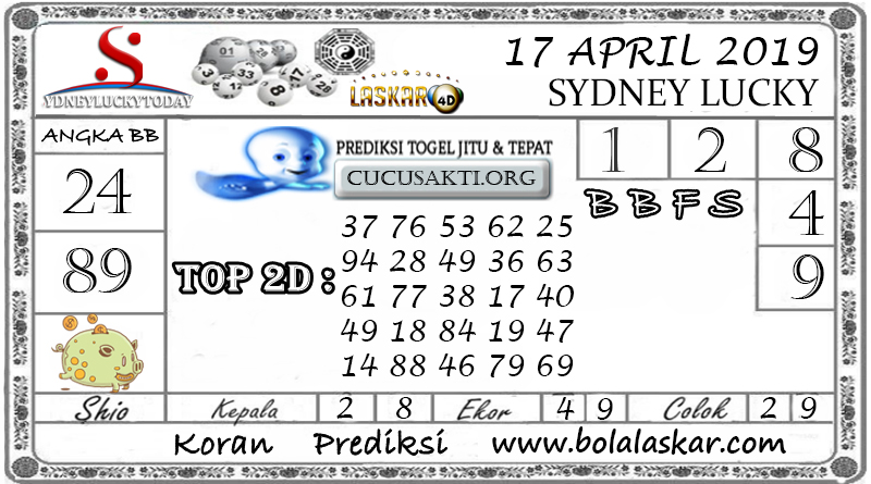 Prediksi Togel SYDNEY LUCKY TODAY LASKAR4D 17 APRIL 2019