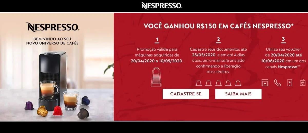 Máquina Nespresso Dia das Mães 2020 - Grátis 150 Reais Cápsulas Compre e Ganhe