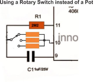 using rotary switch fixed resistors in IC 4060 timer circuit