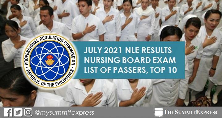 July 2021 NLE Nursing board exam list of passers, top 10