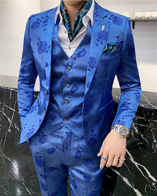 Flowers Printed 3-piece Set Fancy Mens Suits