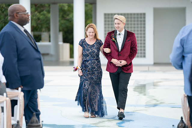 Walking into Wedding Ceremony outside the Mansion at Tuckahoe Jensen Beach FL Wedding Venue